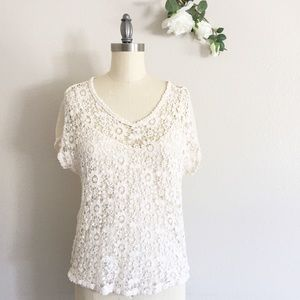 Cynthia Rowley Crochet Top Cream Size Medium